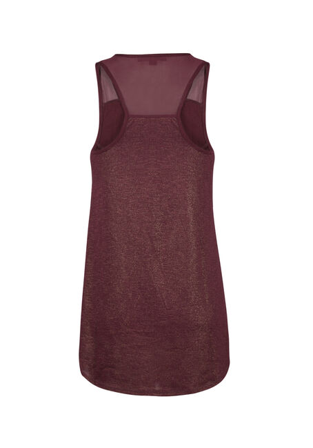 Ladies' Beaded Mesh Tank, WINE, hi-res