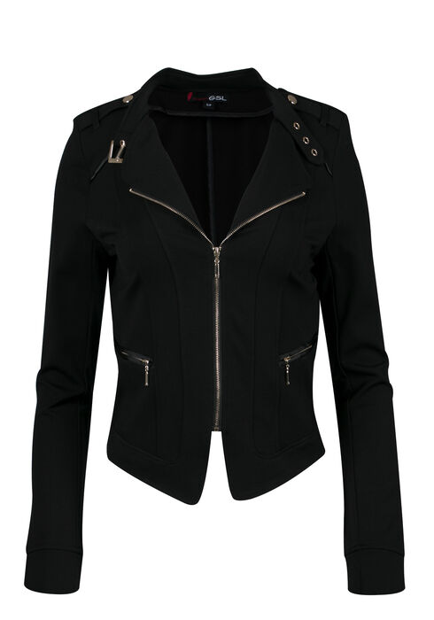 Ladies' Moto Jacket, BLACK, hi-res