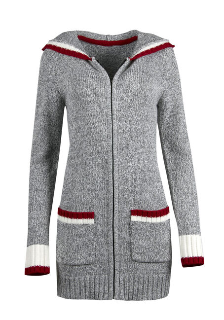 Ladies' Hooded Cabin Cardigan, GREY MELANGE, hi-res