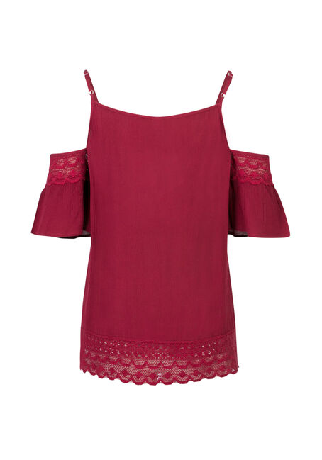 Ladies' Crochet Trim Cold Shoulder Top, ROSEBUD, hi-res