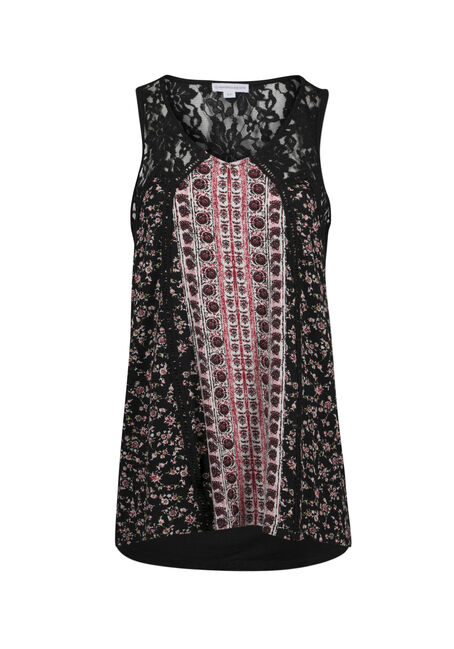 Ladies' Floral Lace Trim Tank