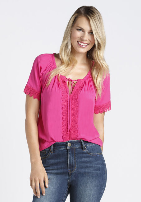 Ladies' Crochet Trim Peasant Top, RASPBERRY, hi-res