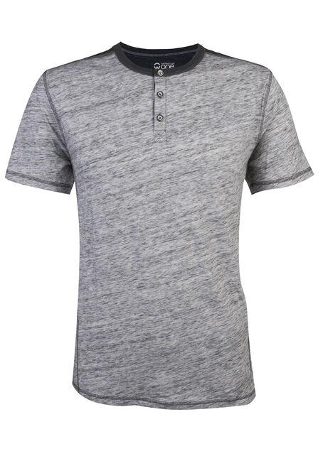 Men's Short Sleeve Henley Tee, HEATHER GREY, hi-res