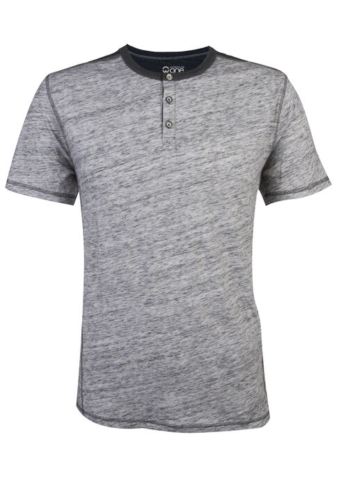Men's Short Sleeve Henley Tee, HEATHER GREY, hi-res