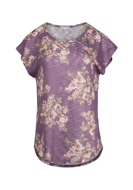 Ladies' Floral Flutter Sleeve Tee