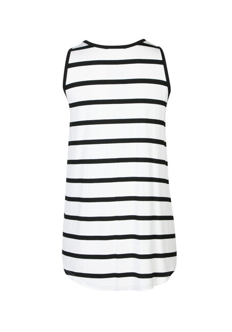 Ladies' Stripe Scoop Neck Tank, WHITE/BLACK, hi-res