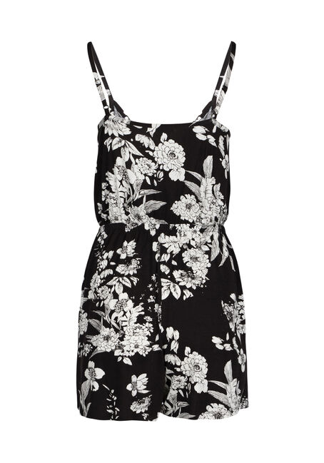Ladies' Floral Print Romper, BLK/WHT, hi-res