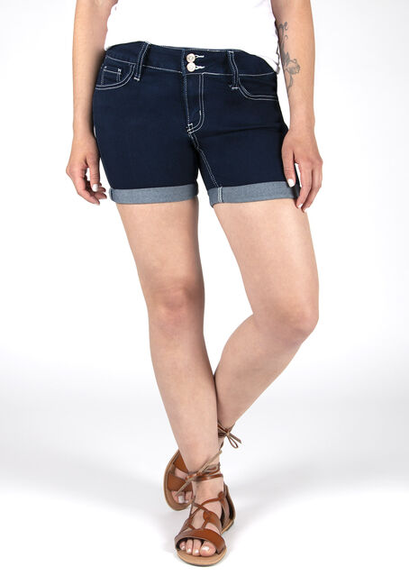 Ladies' Stacked Button Curvy Short