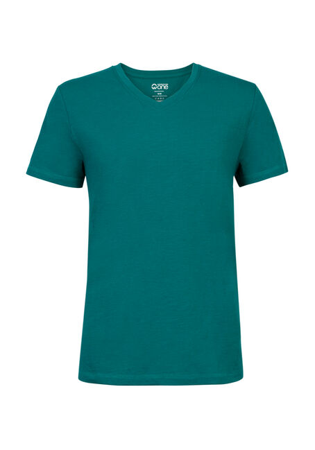 Men's Textured V-Neck Tee, BRIGHT GREEN, hi-res