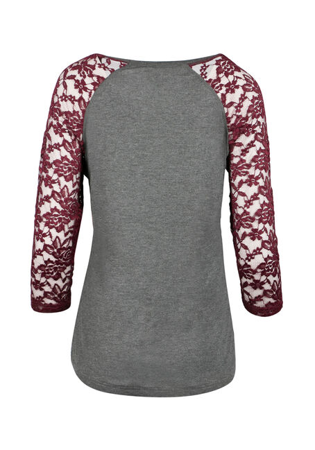 Ladies' Lace Baseball Tee, CHARCOAL/WINE, hi-res
