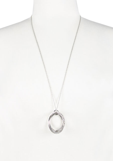 Ladies' Circle Pendant Necklace, RHODIUM, hi-res