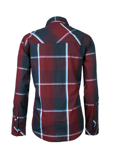 Men's Plaid Shirt, BURGUNDY, hi-res