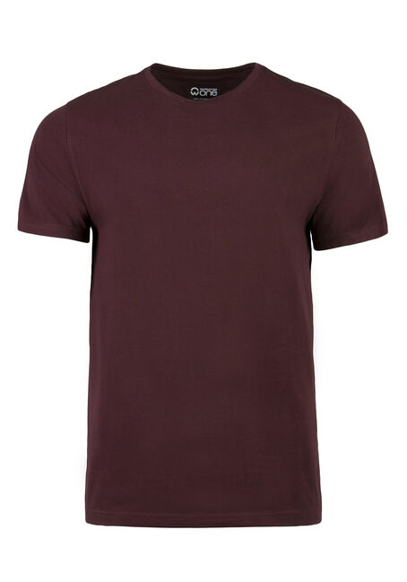 Men's Everyday Crew Neck Tee, Burgandy, hi-res