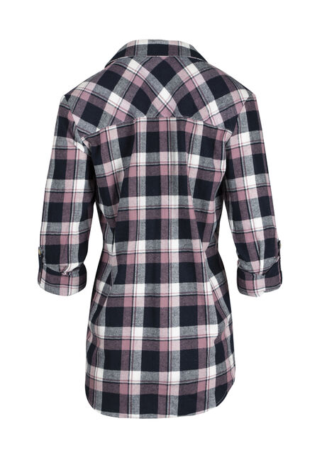 Ladies' Flannel Boyfriend Shirt, PURPLE, hi-res