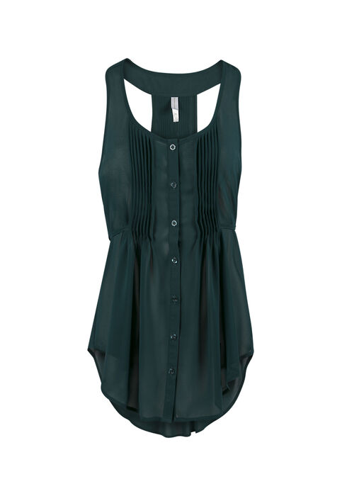Ladies' Pleat Front Tunic Tank, JUNIPER, hi-res