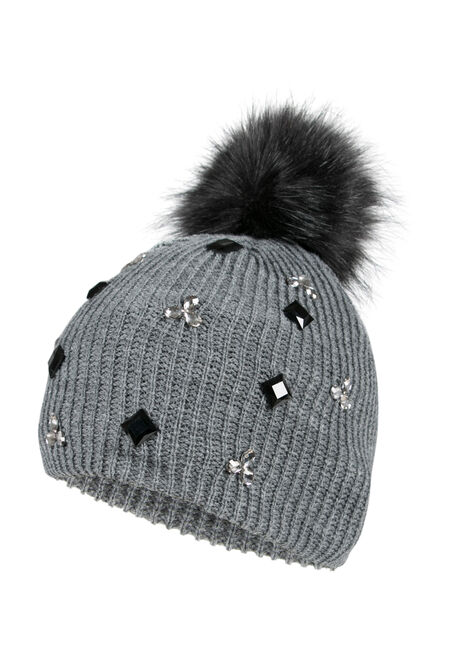 Ladies' Rhinestone Pom Pom Hat