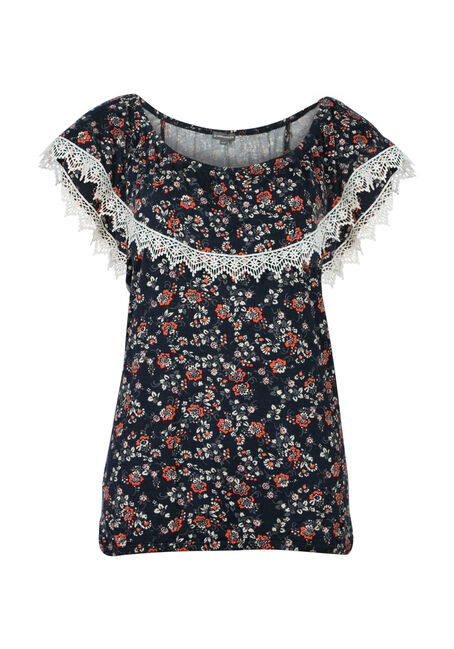 Ladies' Floral Bardot Top, INDIGO, hi-res