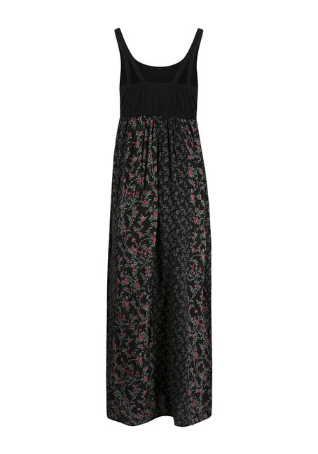 Ladies' Floral Maxi Dress, BLACK, hi-res