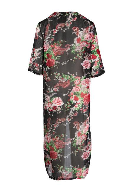 Ladies' Floral Kimono Duster, BLACK, hi-res