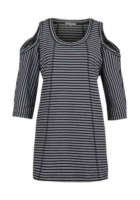 Ladies' Stripe Cold Shoulder Top