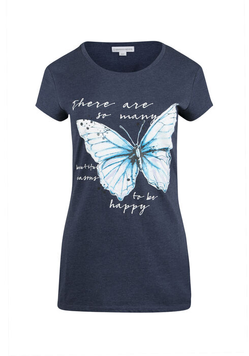 Ladies' Butterfly Print Tee, ECLIPSE, hi-res