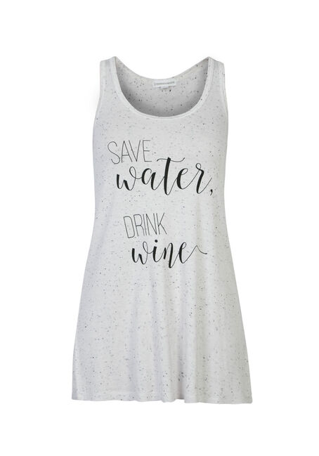 Ladies' Save Water Ruched Back Tank, WHITE, hi-res