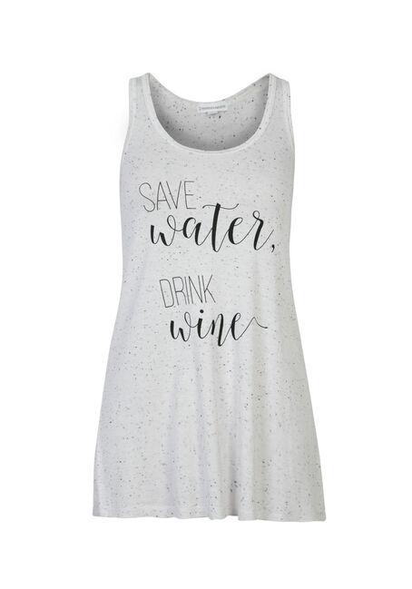 Ladies' Save Water Ruched Back Tank, WHITE, hi-res
