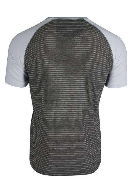 Men's Striped Henley Tee, CHARCOAL, hi-res