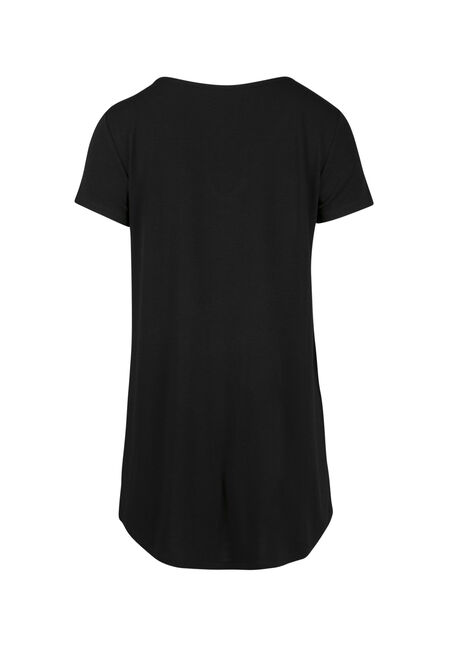 Ladies' Cage Neck Tunic Tee, BLACK, hi-res
