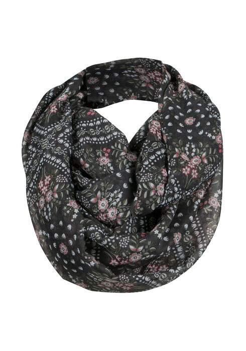 Ladies' Floral Infinity Scarf, LIGHT OLIVE, hi-res