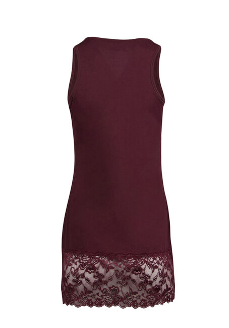 Ladies' Lace Trim Tunic Tank, WINE, hi-res