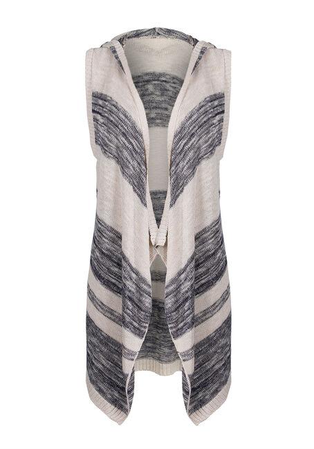 Ladies' Sleeveless Stripe Cardigan, IVORY/INDIGO, hi-res