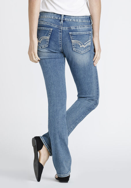 Ladies' Hi-Rise Straight Jeans, MEDIUM VINTAGE WASH, hi-res