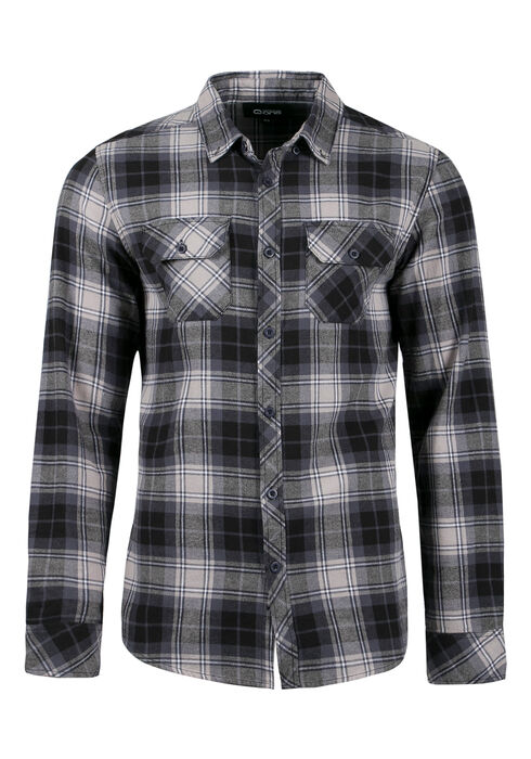 Men's Flannel Plaid Shirt, BLUE, hi-res