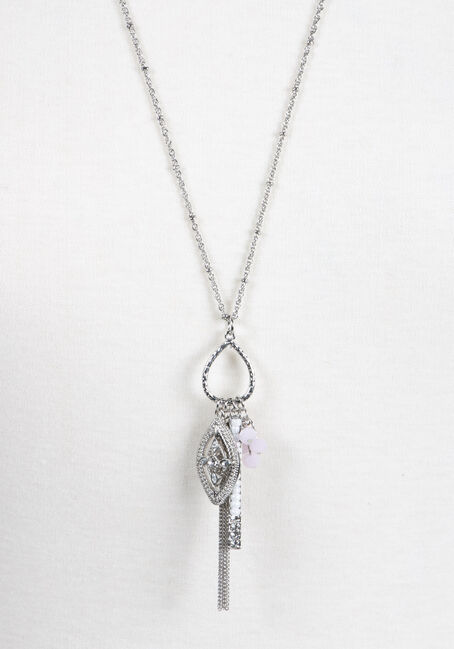 Ladies' Teardrop Charm Necklace, RHODIUM, hi-res