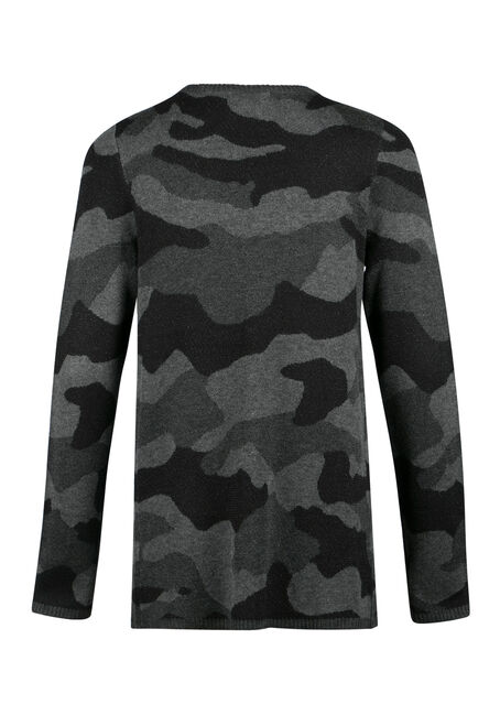 Ladies' Camo Open Cardigan, BLK/WHT, hi-res