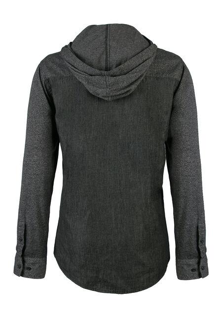 Men's Hooded Chambray Shirt, CHARCOAL, hi-res