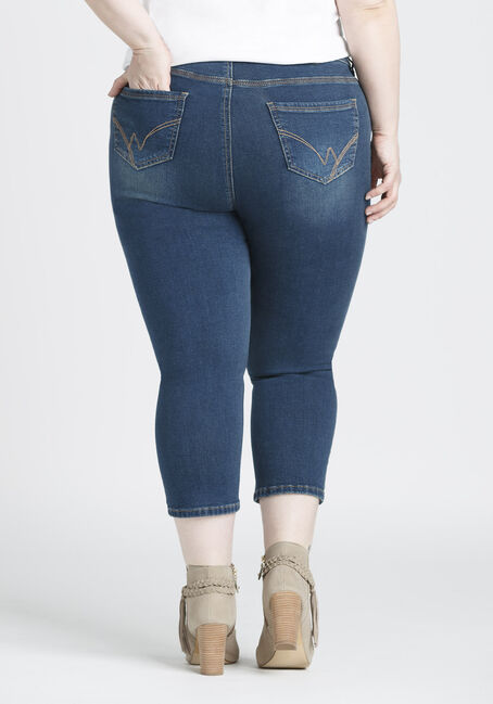Ladies' Plus Size High Rise Skinny Capri, DARK VINTAGE WASH, hi-res