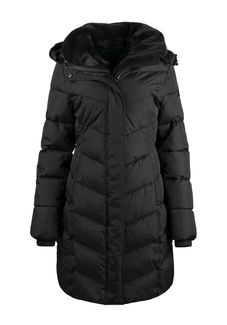 Ladies' Fur Trim Quilted Parka