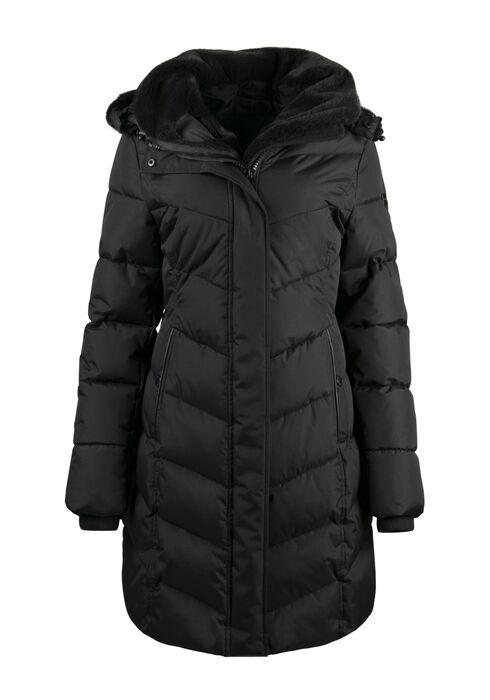 Ladies' Fur Trim Quilted Parka, BLACK, hi-res