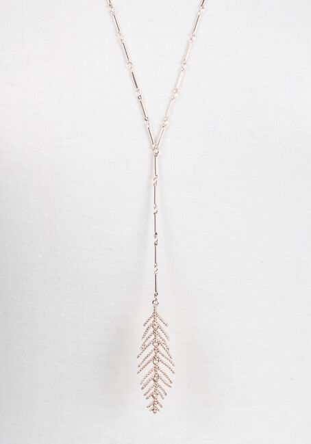 Ladies' Y Neck Feather Necklace, ROSE GOLD, hi-res