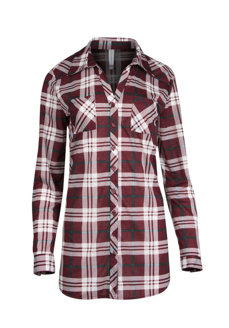 Ladies' Knit Plaid Tunic Shirt
