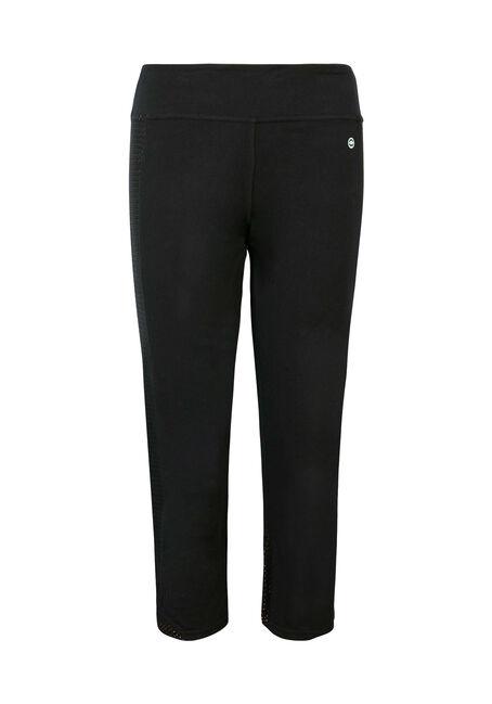 Ladies' Mesh Side Insert Capri Legging, BLACK, hi-res