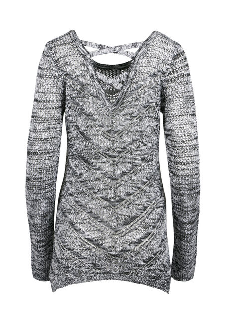 Ladies' Pointelle Cross Back Sweater, BLK/WHT, hi-res