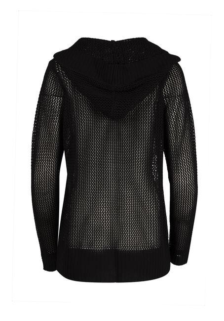Ladies' Hooded Mesh Cardigan, BLACK, hi-res