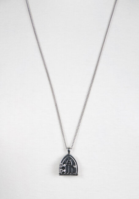 Ladies' Fairy House Necklace, RHODIUM, hi-res
