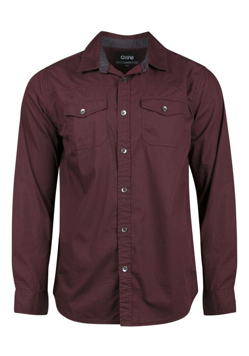 Men's Relaxed Micro Check Shirt, BURGUNDY, hi-res