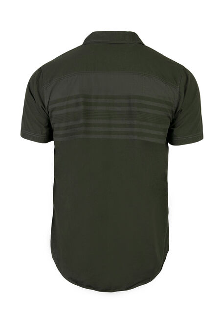Men's Stripe Shirt, DARK OLIVE, hi-res