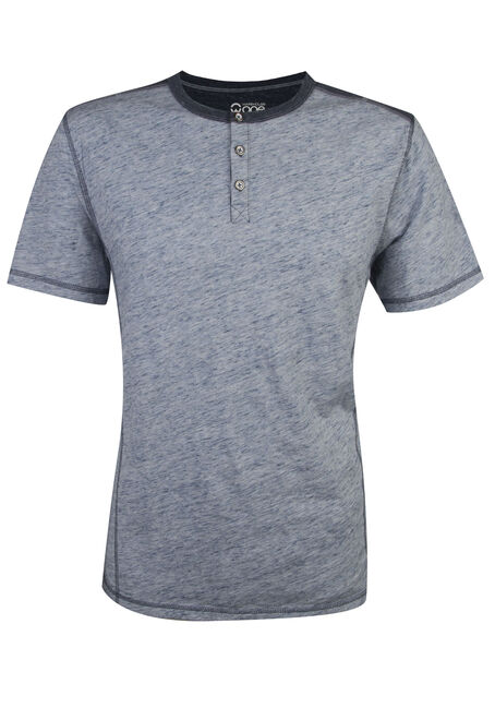 Men's Short Sleeve Henley Tee, NAVY, hi-res