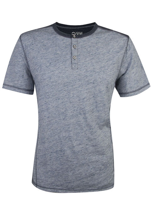 Men's Short Sleeve Henley Tee, NAVY, hi-res